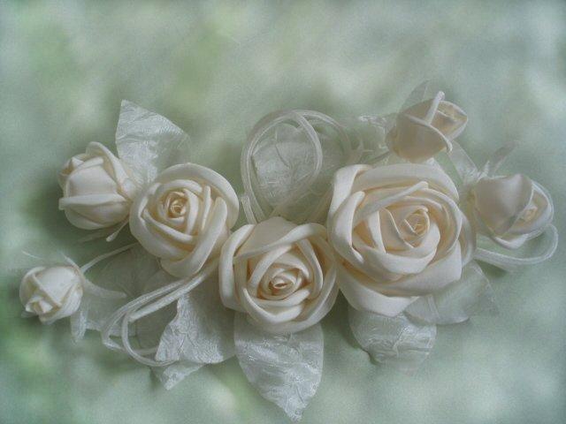 Цветы из лент в горшках своими руками
